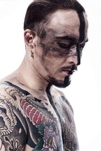 Modern samurai EyeEm Best Shots EyeEmNewHere Paint Black Fashion Photography Portrait Studio Shot Tattoo White Background The Portraitist - 2018 EyeEm Awards