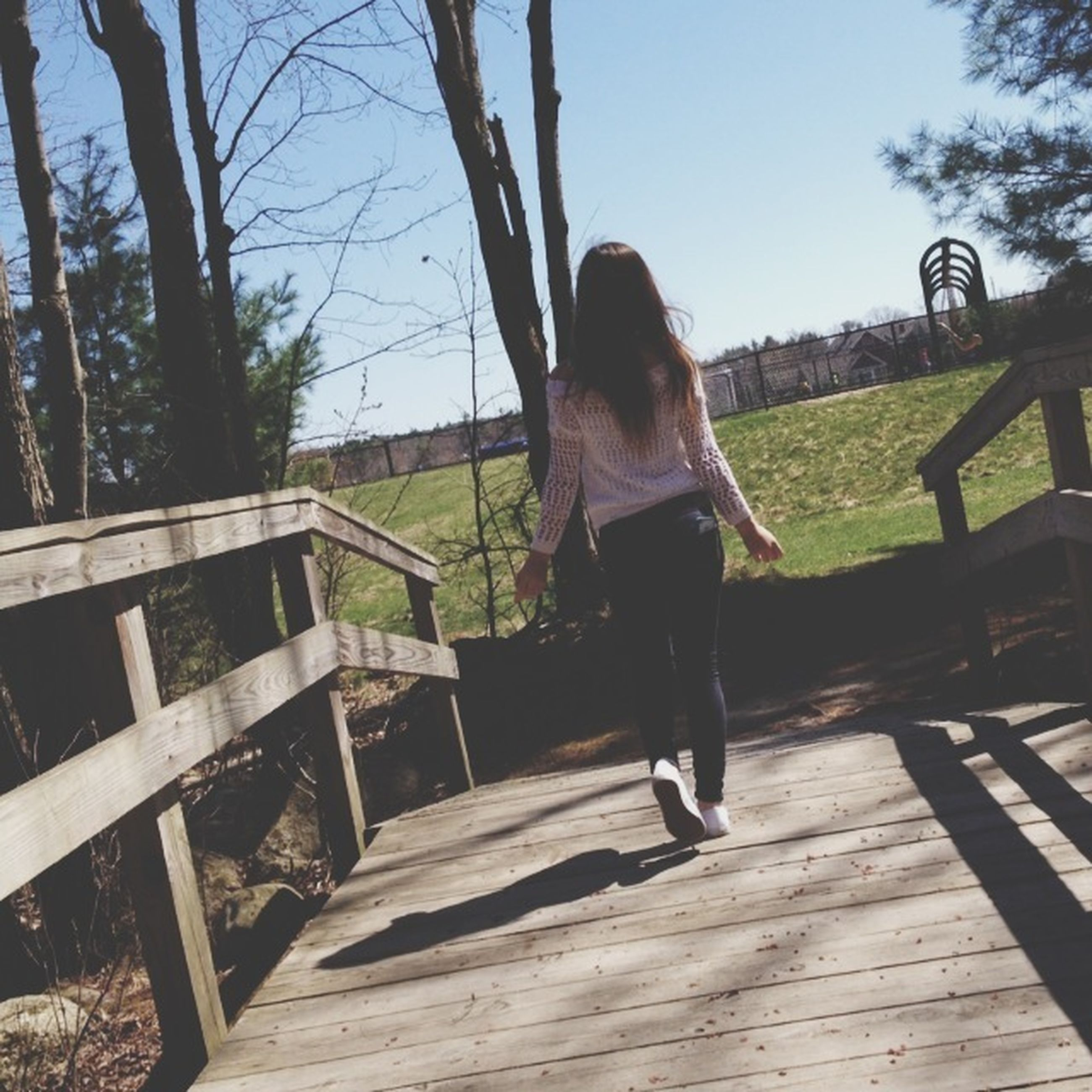 full length, lifestyles, tree, leisure activity, casual clothing, rear view, person, young adult, grass, standing, young women, long hair, wood - material, railing, childhood, sunlight, sky, park - man made space