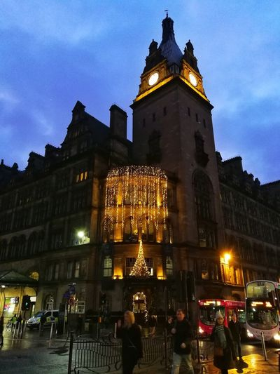 Clock Tower Central Station Glasgow Christmas Lights Illuminated Architecture Travel Destinations Low Angle View Cityscape Clock Face