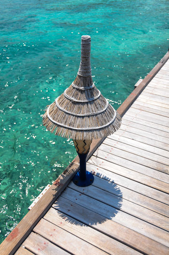 High angle view of lamp on jetty
