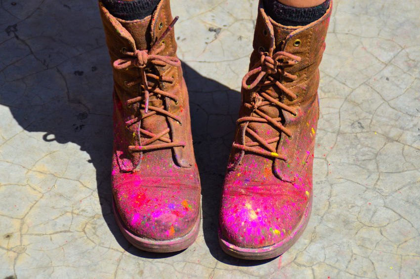 Holi Festival Of Colours Holi Minimalism Copy Space Colored Powder On Boots Personal Perspective High Angle View Brown Boots Nepali Culture Nepal Travel Photography Multi Colored Pokhara, Nepal Eyeem Philippines EyeEm Masterclass Festival Season Celebration Nepal Festival Millennial Pink Resist