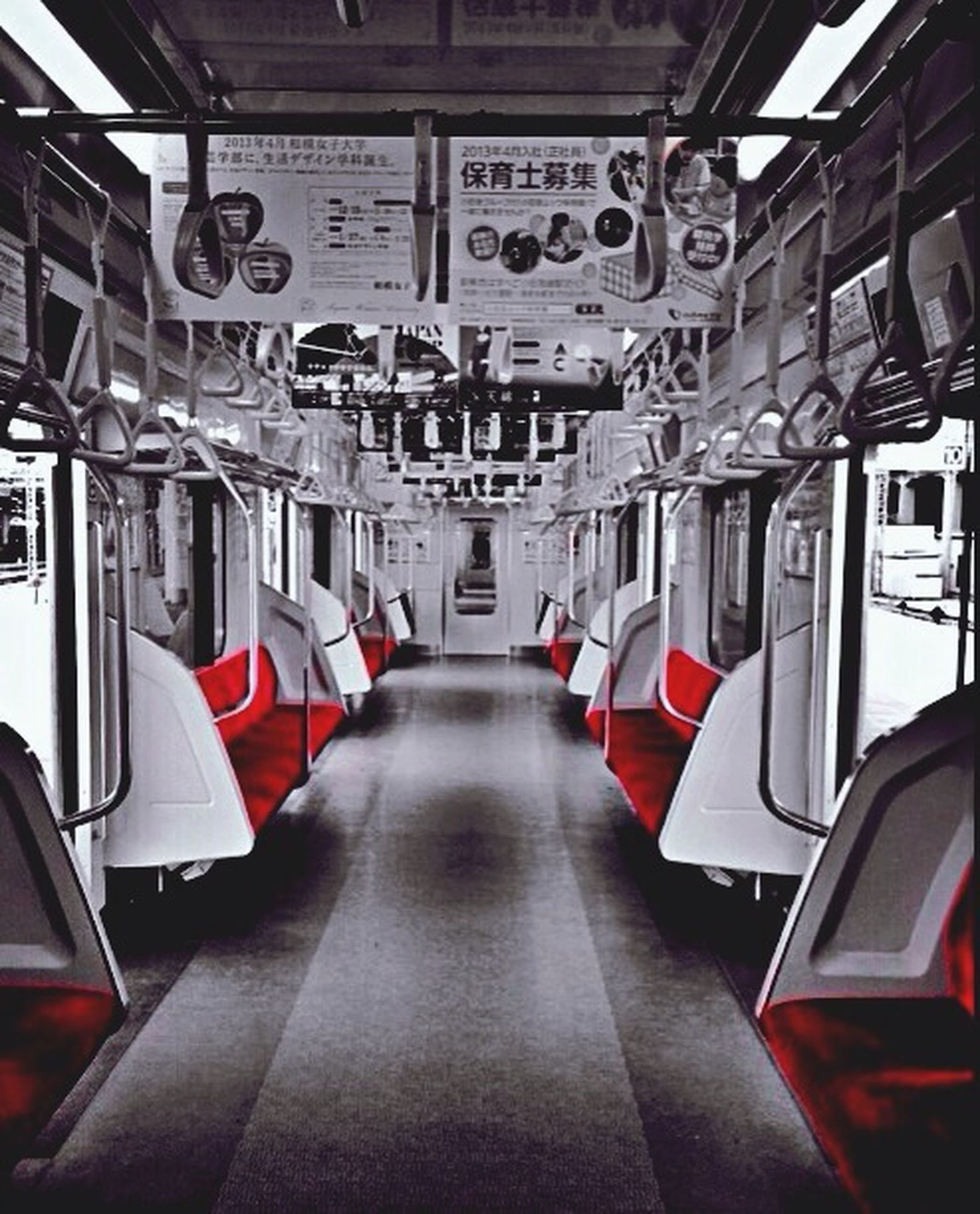 indoors, transportation, mode of transport, public transportation, red, absence, in a row, empty, architecture, built structure, vehicle interior, travel, window, no people, communication, day, bus, interior, vehicle seat, modern