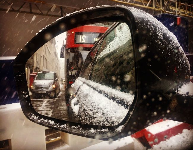 London reflected in the snow Cold London Bus Snow Reflection Glass - Material Wet Car Water Side-view Mirror Motor Vehicle Transportation Mirror Close-up Land Vehicle Mode Of Transportation Window Vehicle Mirror No People