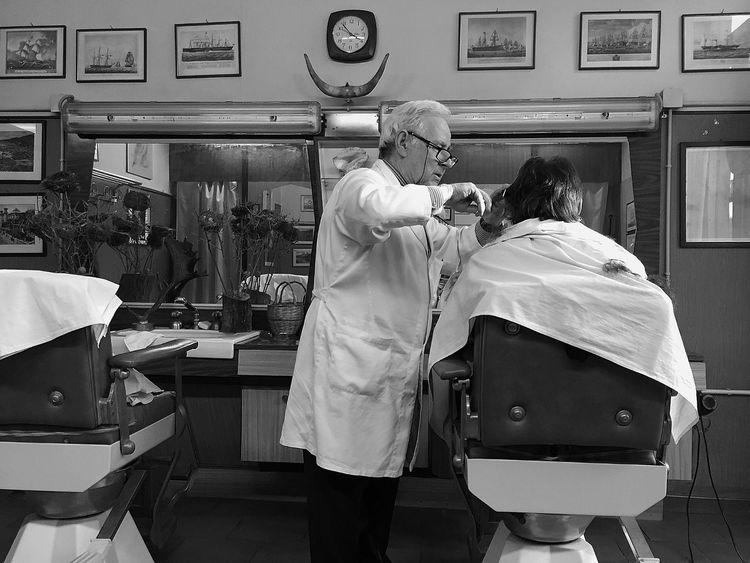 Hairdresser of Turin. Barbershop Blackandwhite Turin Barber Hairdresser Italy
