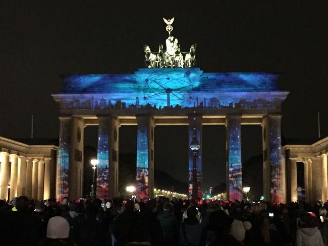 Architecture Art Art And Craft Berlin Brandenburg Gate Brandenburger Tor Building Exterior Built Structure Creativity Culture Cultures Festival Of Lights Festival Of Lights 2015 Illuminated Illuminated Signs International Landmark Night