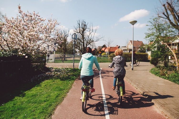 Rear View Of Women Riding Bicycle On Road During Sunny Day