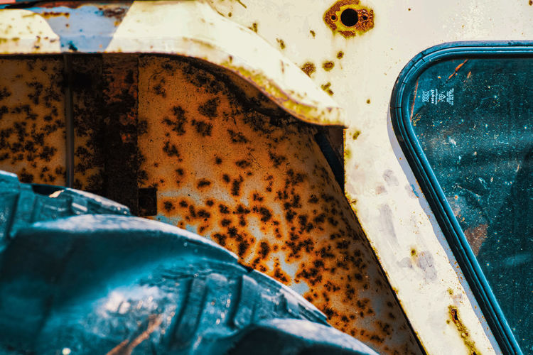 High angle view of rusty car