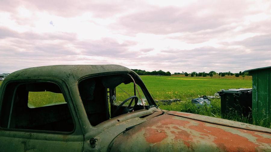 Rusty auto Car Cloud Cloud - Sky Cloudy Fårø Field Grass Land Vehicle Landscape Mode Of Transport Nature No People Outdoors Overcast Green Rural Scene Sky Tranquility Transportation Landscapes With WhiteWall Rusty Autos Rusty Rusty Goodness Cars Vintage Cars