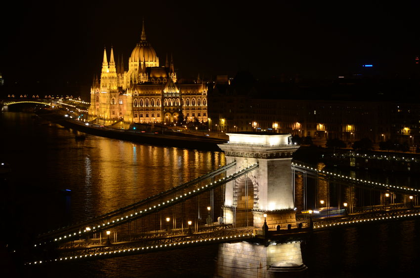 Bridge Budapest Castle Chain Bridge City Life Cityscape Danube Danube River Famous Place Hungarian Parliament Night Reflection River Tourism Water Hungary Cityscapes
