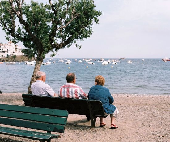 120 Film Adult Adults Only Beach Bench Catalonia Day Harbor Horizon Over Water Leisure Activity Medium Formatj Men Outdoors People Rear View Relaxation Sea Senior Adult Senior Men Senior Women Sitting SPAIN Togetherness Water