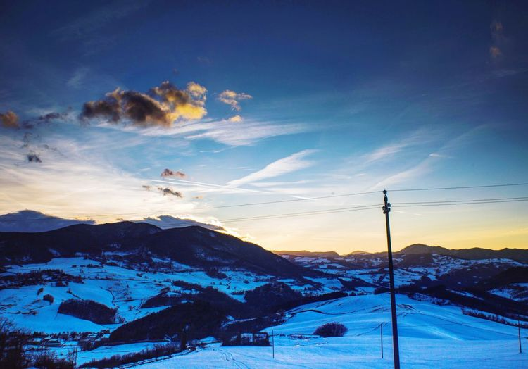 Snow Cold Temperature Nature Winter Sky Sunset Beauty In Nature Mountain Outdoors Scenics Cloud - Sky Landscape No People Tranquility Day Ski Lift Go Higher The Great Outdoors - 2018 EyeEm Awards