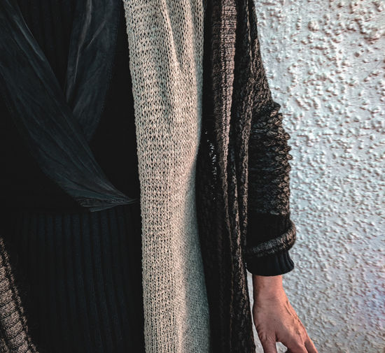 Close-up of woman wearing warm clothing