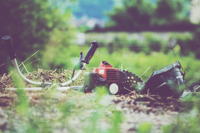 Mower In Nature  Non-urban Scene Work Tool Machine Part Object Metal No People Tranquil Scene Outdoors Day Vsco T1 Green Weed Green Color Tranquility Plant VSCO