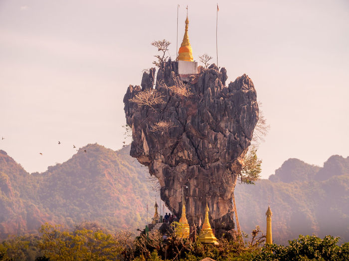 Kyauk Ka Lat Pagoda in Hpa-An Hpa-an Kyauk Ka Lat Pagoda Pagoda Beauty In Nature Close-up Mountain Myanmar Nature No People Outdoors Sky