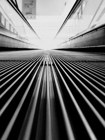 Surface level of escalator