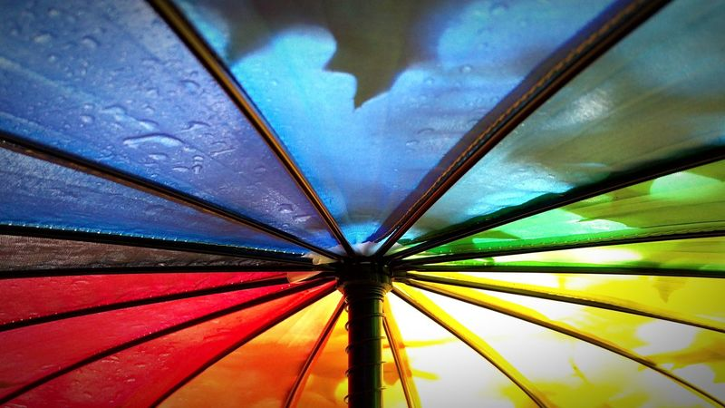 Rain Weather Wet Protection Full Frame Close-up No People Multi Colored Shelter Day Backgrounds RainDrop Outdoors Water Umbrella Rainbow Rainbow Umbrella Colorful Colourful