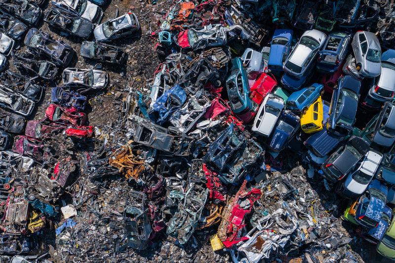 Aerial view of scrap yard