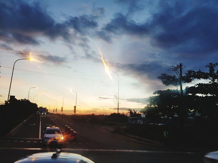 Car Road Land Vehicle Cloud - Sky Sunset Highway Traffic