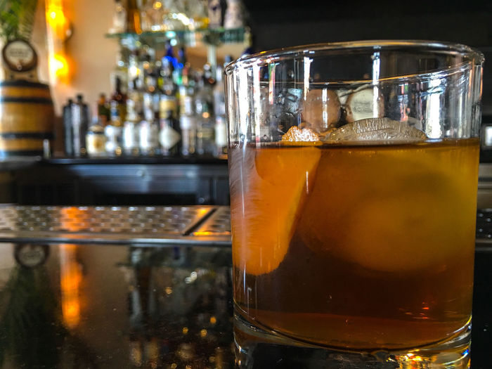 Old Fashion. Alcohol Close-up Cocktail Cocktail Hour Focus On Foreground Freshness Gold Colored Ice Cube Illuminated No People Refreshment Selective Focus Single Object Still Life Yellow