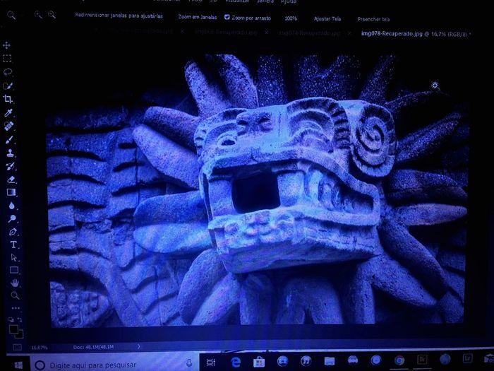 Mexico SerpienteEmplumada Escultura Sculture Pirámides Maya Azteca Blue Technology No People Text Communication Safety Close-up Illuminated