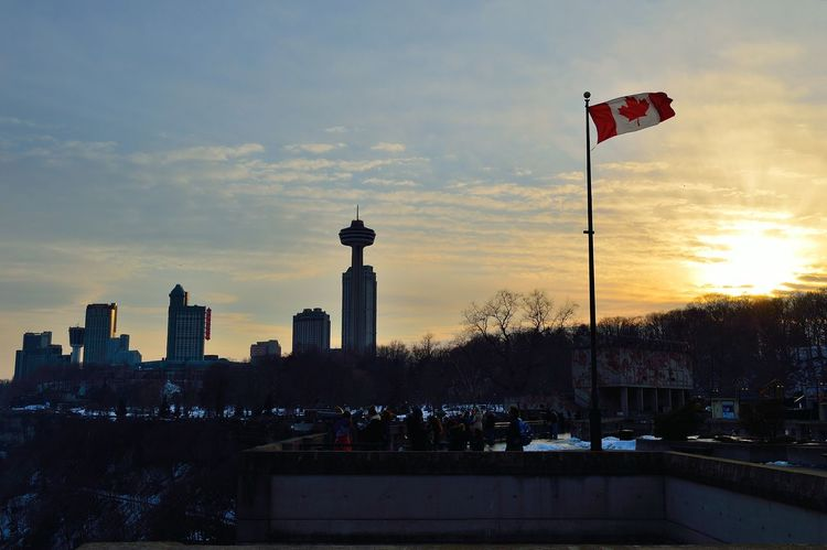 Architecture Canada City Cityscape Cloudscape Flag Great White North Outdoors Sky Sunset Travel Destinations