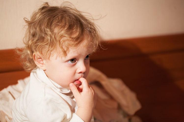 Boy Calm Cartoons Caucasian Chews Child Curly Cute Finger Gaze Hair Kid Looking Male Mouth Stare Video