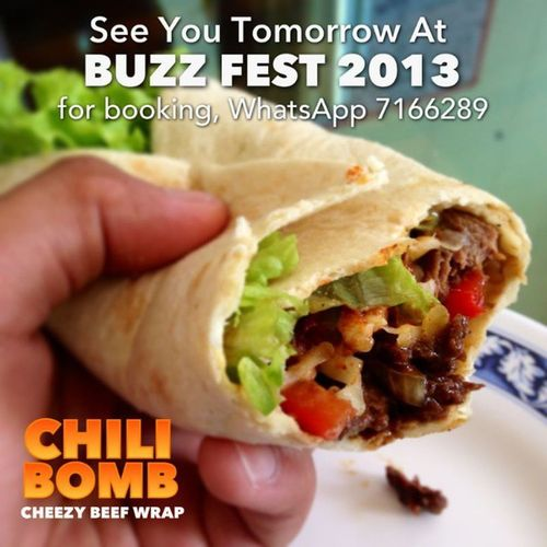 @Chili_Bomb is taking orders for Sunday pick up at Buzz Fest 2013 Venue: No 19 Spg 528-462, Kg Sg Hanching, Jalan Muara Sunday 28 April 2012 10am- 8:00pm FOR BOOKING: Simply Whatsapp them at 7166289 Other eVendors who will be participating : @artsyglam @azbeads @bakingobsessionbn @baker_blush @beadsheaps @brulittlebugs Cafemaurina @cupcakebuffet @dougscakoi @efbakery @enyabijoux @foodremix @lynsainitattooist95 @mykitchenbox @neeena @shiizcandies @vanillakitchen @cakesandcrafts @lemarih @hypenotize @shopropas @bynoorabakes @naforrer @mumtazcollections @sugarrushbrunei @rockpaperscissors_store @the_sandwich_club_brunei Sipntell Thatpieshop @gklam_ @bruneitweet So don't miss out on Buzz Fest 2013 and show your support to eVendors!! Buzzfest2013 buzzfest bf2013 bruneibuzz