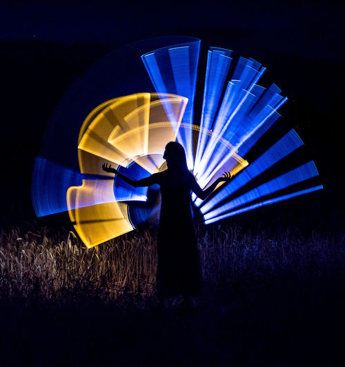 Rear view of silhouette woman standing on field at night