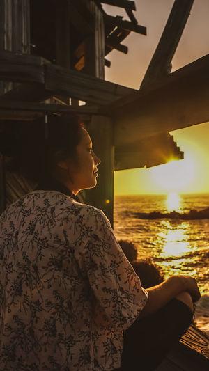 Woman looking at sea
