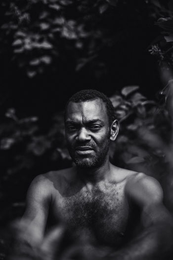 Portrait of shirtless black man