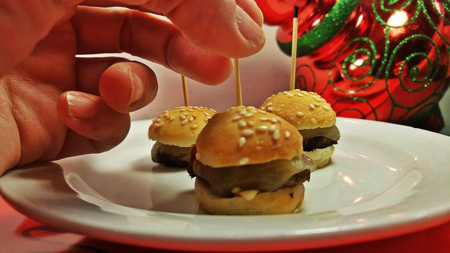 appetizers Bouchees Tappas Platter Party Bold Colorful Red Seasonal Designer Food Fingerfood Tappas Christmas Entrees Human Hand Human Body Part Plate Food Indoors  Dessert Ready-to-eat Burger Hamburger Close-up Food And Drink