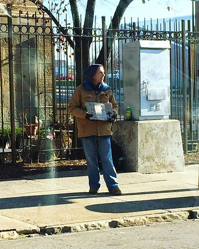 Adapted To The City Homeless One Man Only Adult City Social Issues Akron Winter Sad