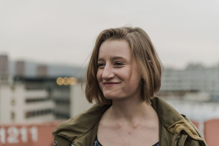 Rooftop Focus On Foreground Real People Front View Smiling One Person Headshot Outdoors Portrait Day Close-up Young Adult Happiness Looking At Camera Young Women