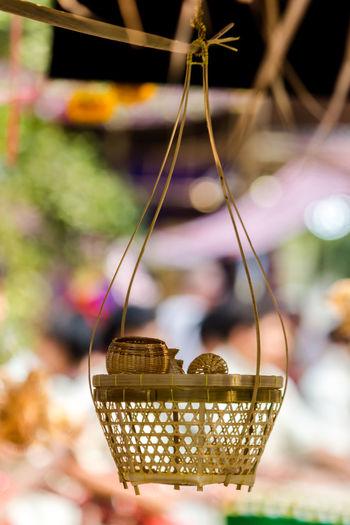 Basket Close-up Focus On Foreground Handicraft Handicraft Work Hanging Night No People Outdoors Weaving