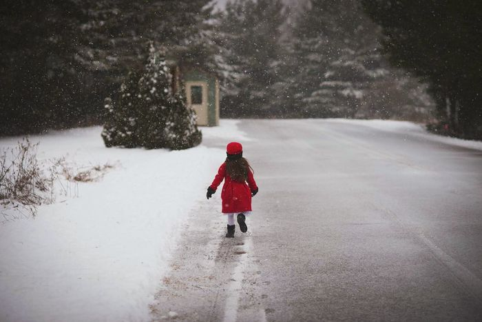 Winter Snow Cold Temperature Snowing One Person Red Child Walking Snowflake Outdoors Nature Childhood Tree Nature Portrait Portrait Photography