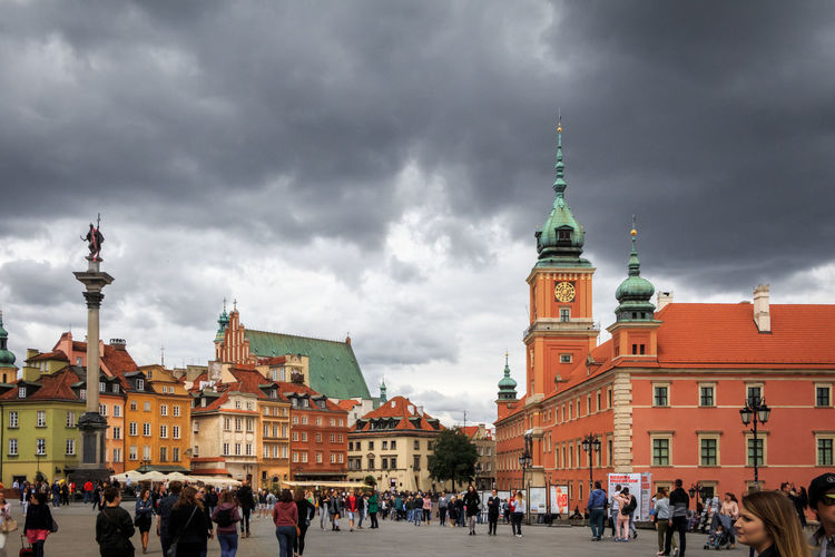 Cloudy Dramatic Sky Europe Trip Old Town Poland Warsaw Warsaw Poland Warszawa  Architecture Building Building Exterior Built Structure City Cloud - Sky Europe Group Of People Tourism Tourist Travel Travel Destinations