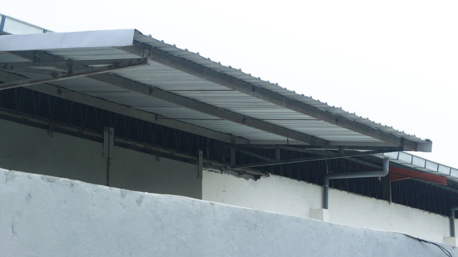 Low angle view of roof against clear sky