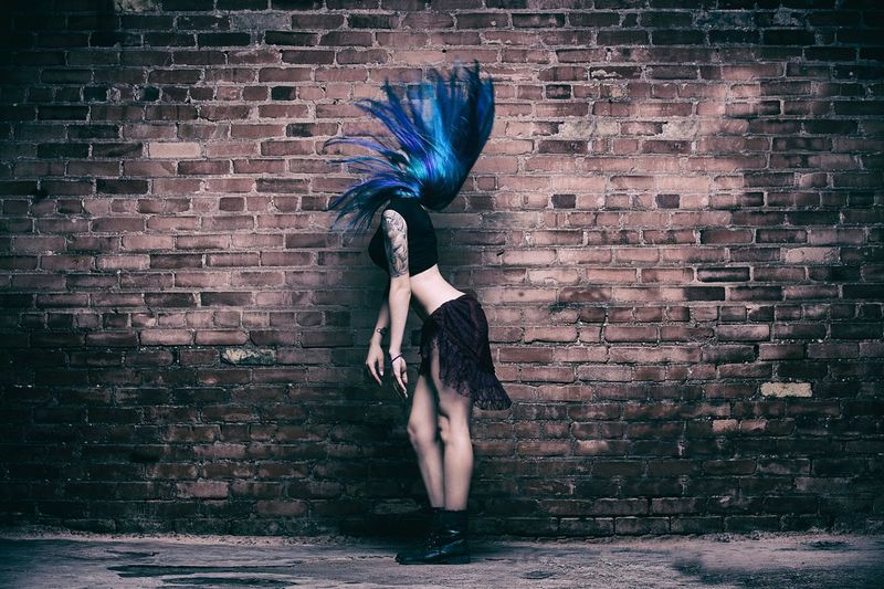 Girl with blue hair Cool Girl Brick Wall Tattoos Tattoo Blue Hair Wall One Person Brick Wall Brick Young Adult Adult Women Obscured Face Indoors  Hair Front View Full Length Clothing Young Women Wall - Building Feature Hairstyle