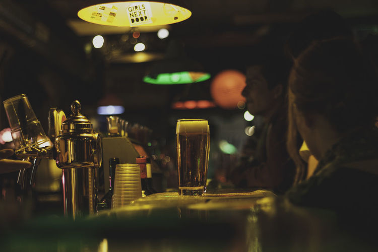 Bar Bar Counter Budapest Close-up Illuminated Indoors  Large Group Of Objects People And Places