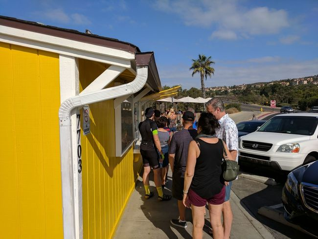 Fun Leisure Activity Day People Outdoors Yellow Building Paint The Town Yellow Connected By Travel Palm Tree Palmtree No Filter Travel Travel Destination Done That. Standing Standing In Lines Destination Cars Getting Food California Vacation Sunny Day An Eye For Travel Summer Exploratorium