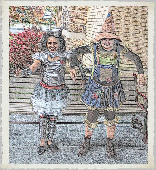 The Tin Man and Scarecrow Art And Craft Creativity Detail Dress Full Frame Girls Ideas Multi Colored Textured  Variation