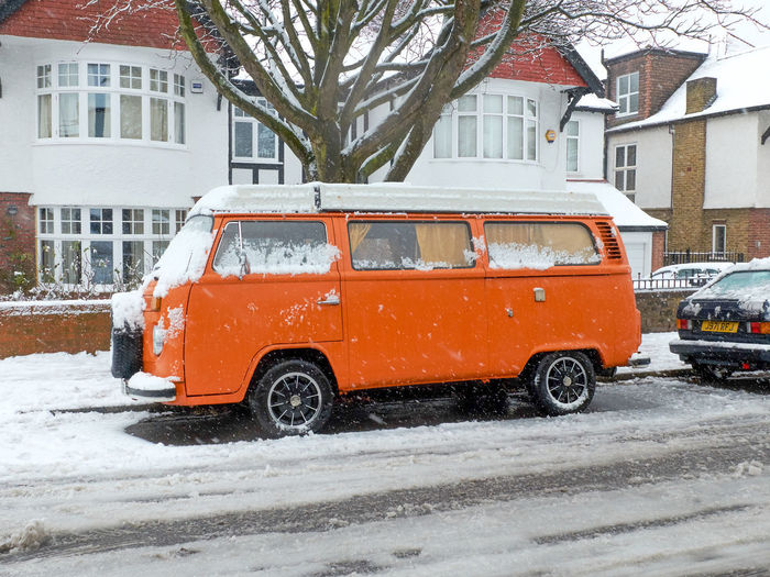 Architecture Building Exterior Built Structure Camper Van Car City Cold Temperature Day Land Vehicle Mode Of Transport Nature No People North London Outdoors Park Queens Wood Road Snow Snowing Stationary Street Transportation Volkswagen Weather Winter