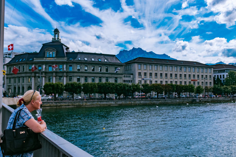 Bridge Chappel Bridge Kappelbrücke Lake Lucerne Luzern Sky Switzerland Tourists