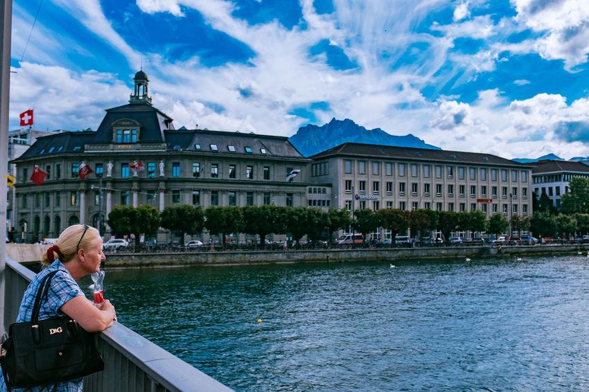 Bridge Chappel Bridge Kappelbrücke Lake Lucerne Luzern Sky Switzerland Tourists
