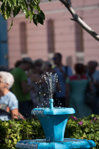 Cuba Cuba Collection Day Focus On Foreground Fountain Outdoors People Plaza De Cespedes Unrecognizable People Water