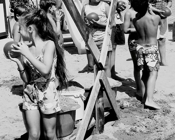 Fun Summer Friendship Beach Leisure Activity Young Adult Togetherness Summercamp2017 Balloons Water Playing Mywork Myworld Battle Black And White Photography