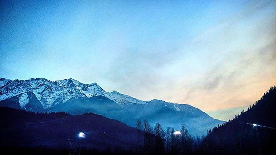 Mount Currie before practice. Sunset Mist November Football Grizzly Pemberton Snow Valley Mountains Practice Floodlights