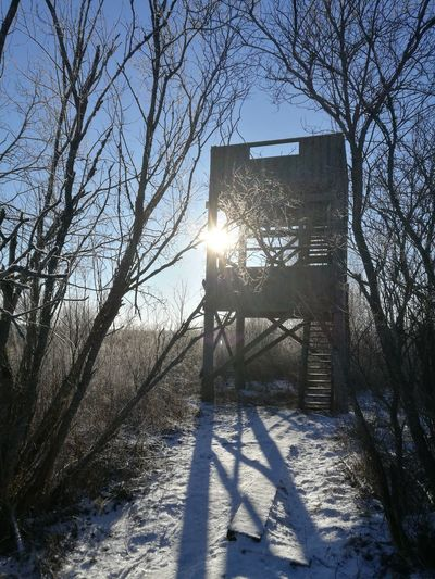 Winter Snow Sun Cold Temperature Bird Watching Tower Köyliö Köyliönjärvi