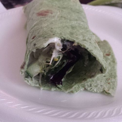 Lunch! Veggiewrap Spinach Broccolisprouts Cucumbers springmix noms