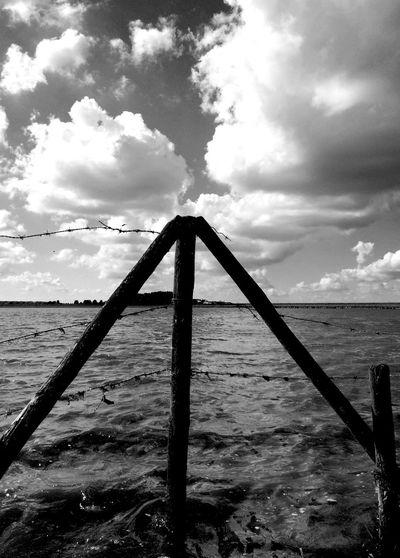 Strijensas Hoeksche Waard Fence Waterscape Black & White
